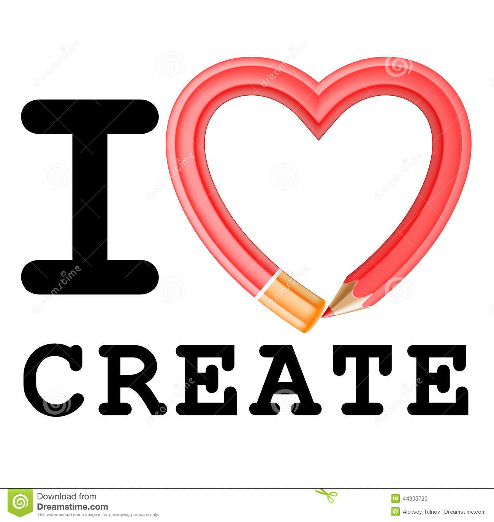 I Love Create Stock Vector Image 44305720
