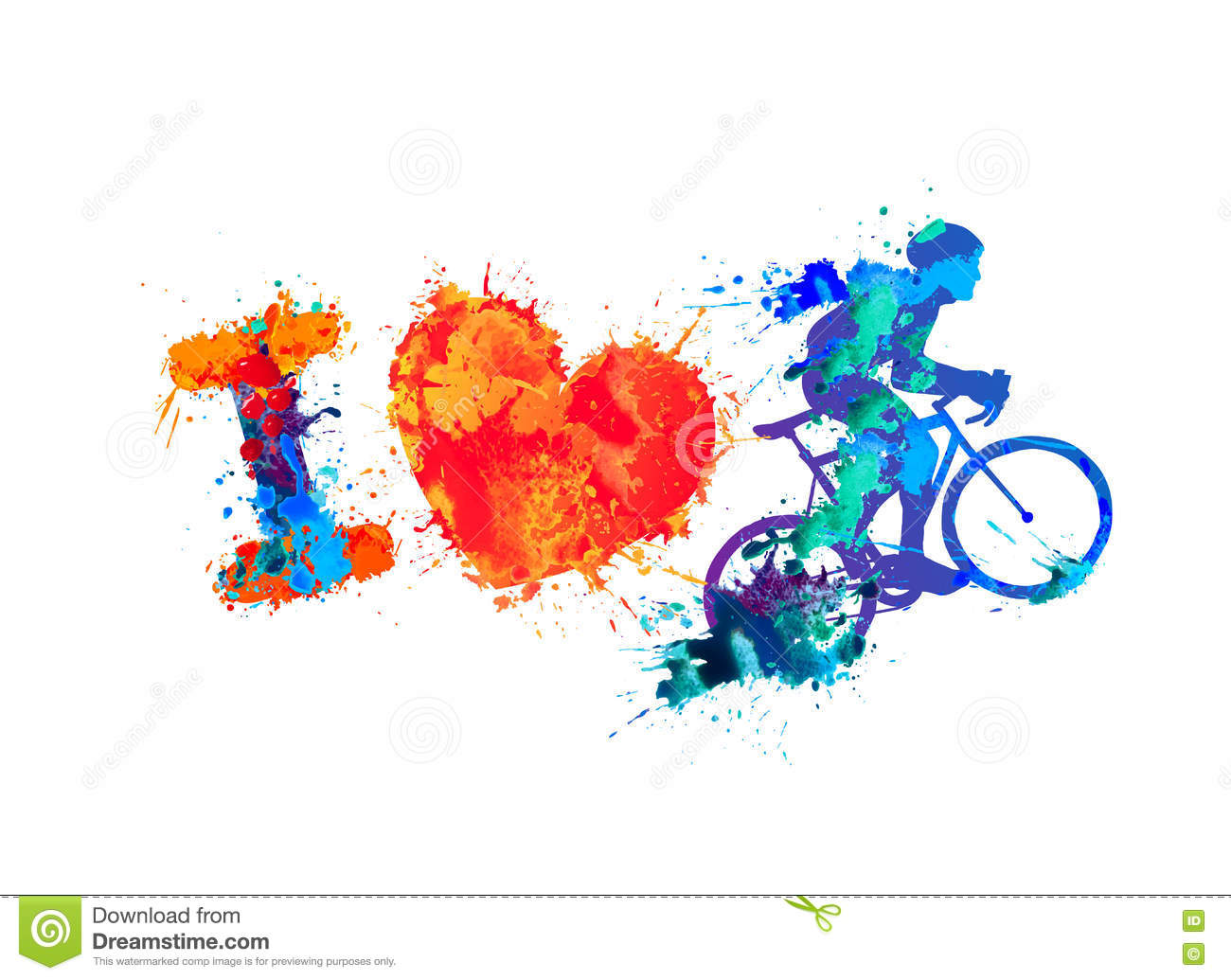 Cute Watercolor Olumpic Sports Equipment Background Vector: Bike Cartoons, Illustrations & Vector Stock Images