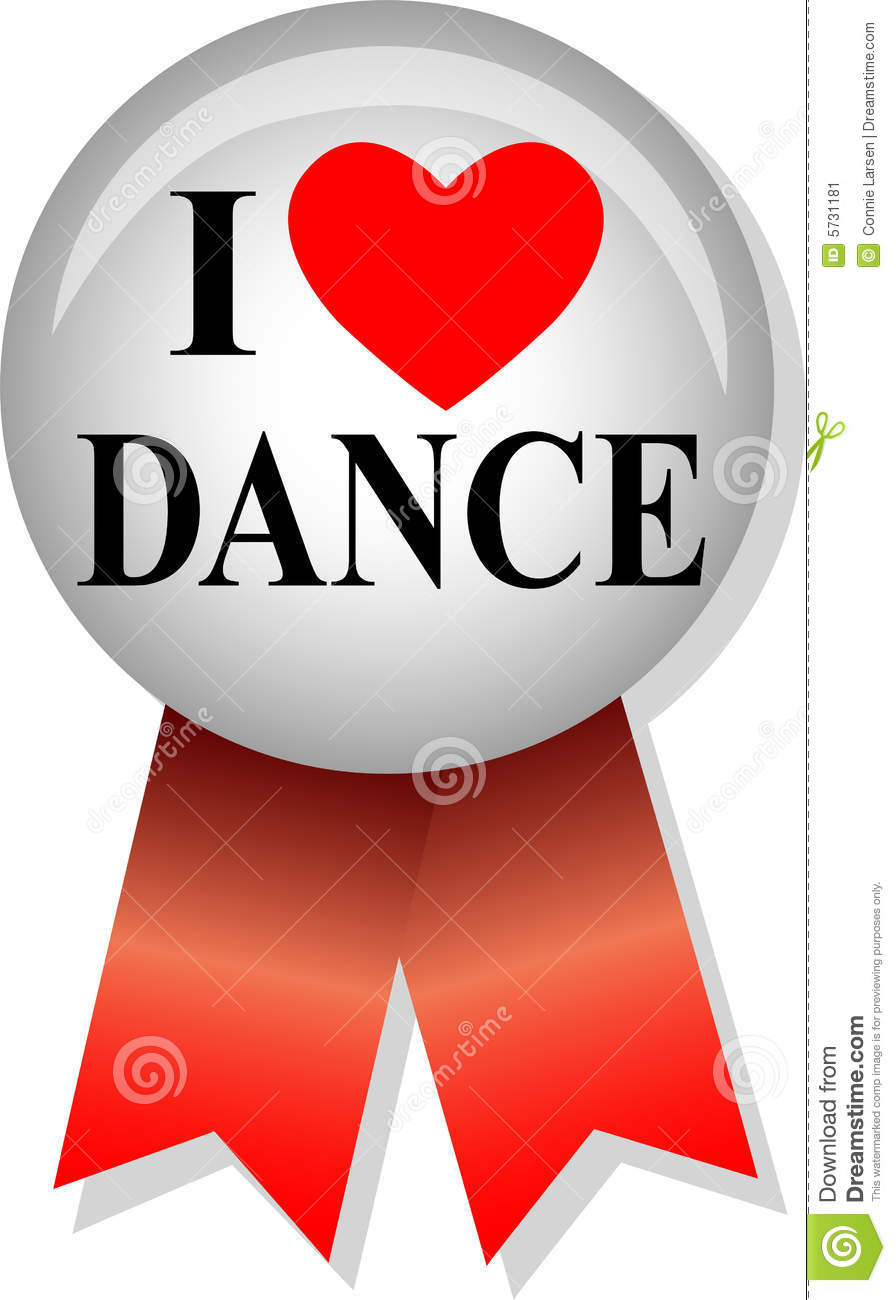 Illustration of a button and ribbon with the message I Love Dance.