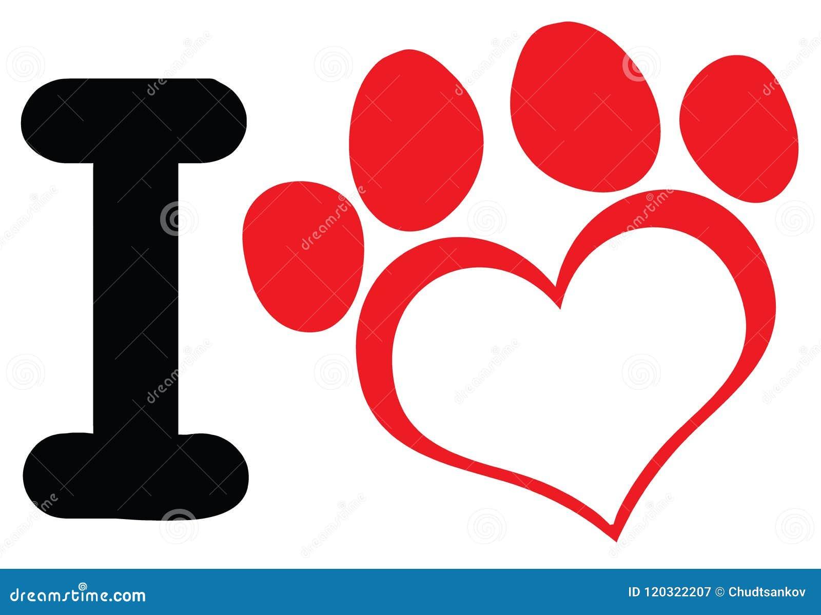 I Love Dog With Red Heart Paw Print Logo Design Stock Illustration