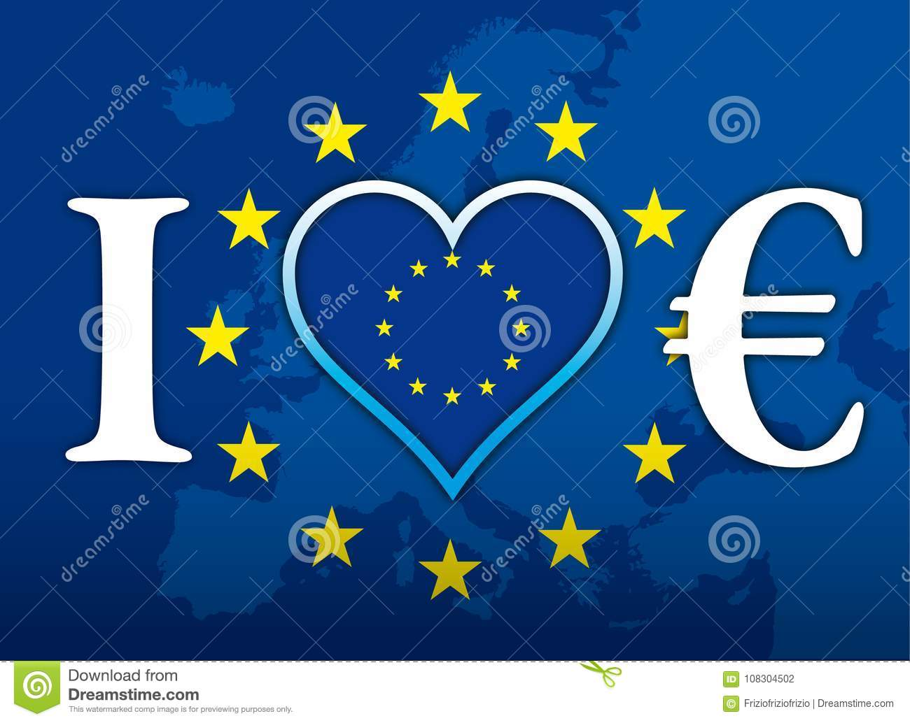 I love europe and euro currency flag illustration with euro symbol i love europe and euro currency flag illustration with euro symbol buycottarizona Choice Image