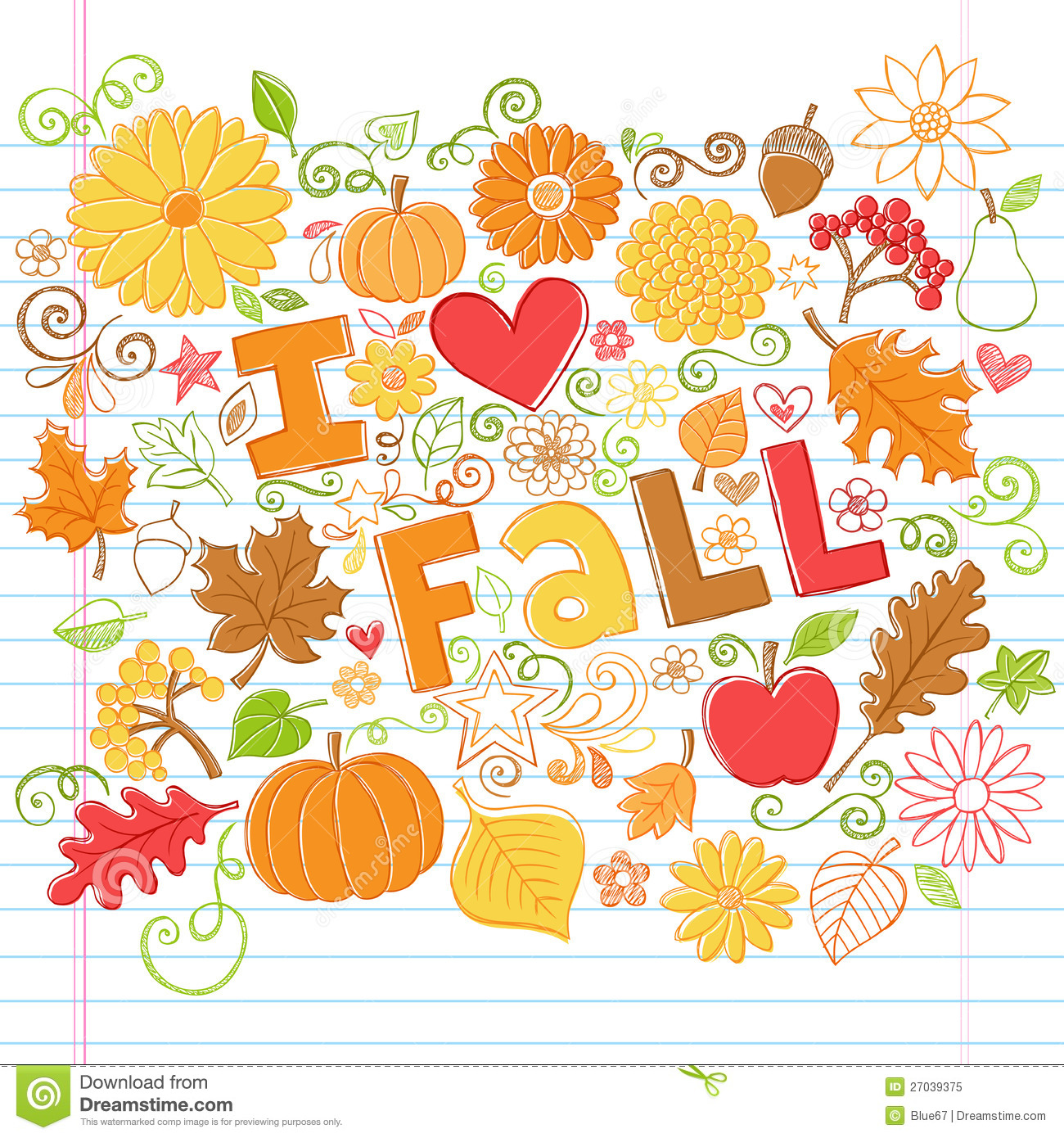 Love Fall Back To School Autumn Doodles Royalty Free Stock Photo ...