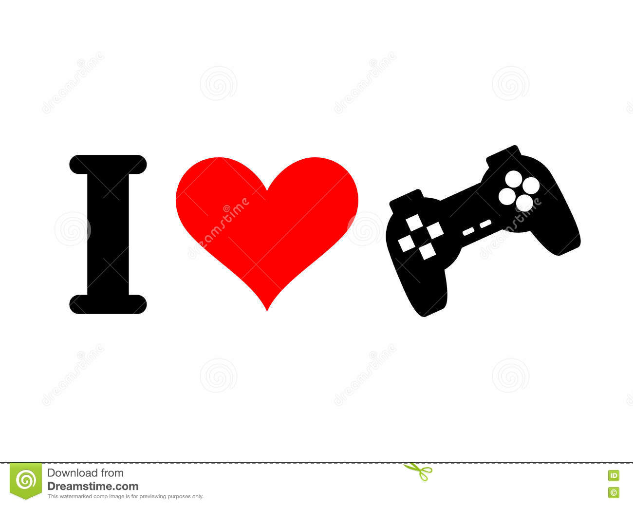 I Love Games  Heart And Gamepad  Logo For Players In Console  Stock