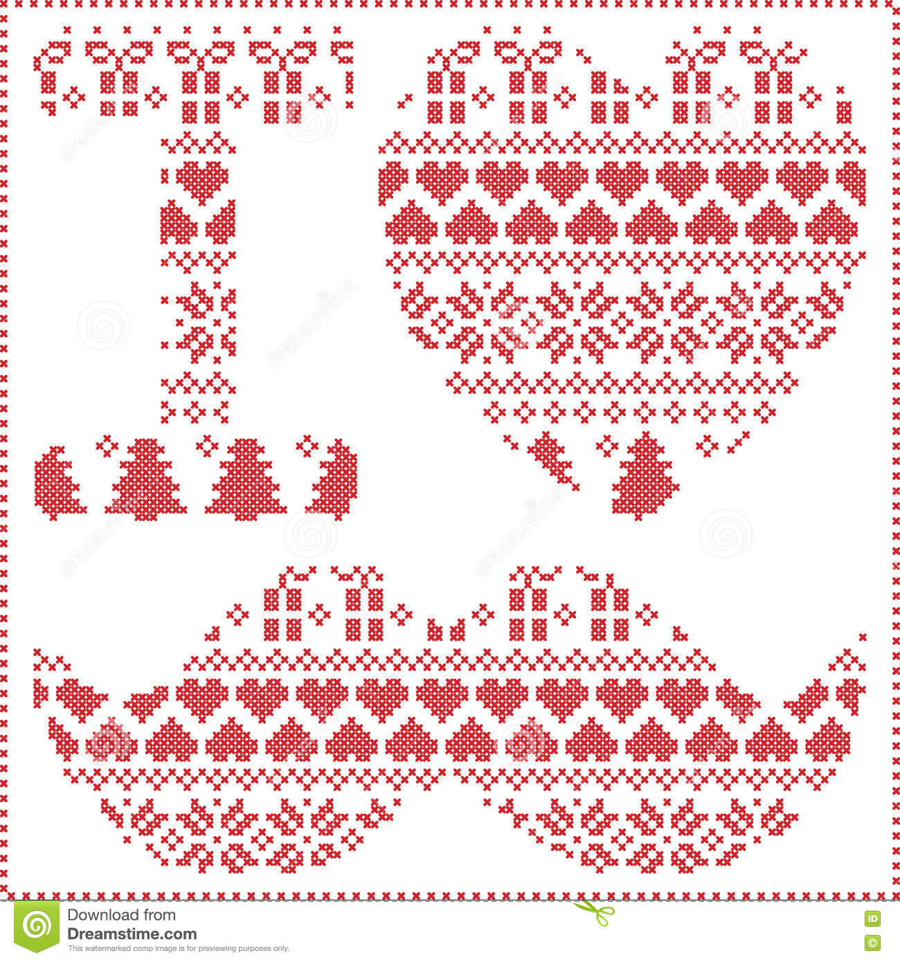 I Love Hipster Pattern In Scandinavian Nordic Winter Stitching ...