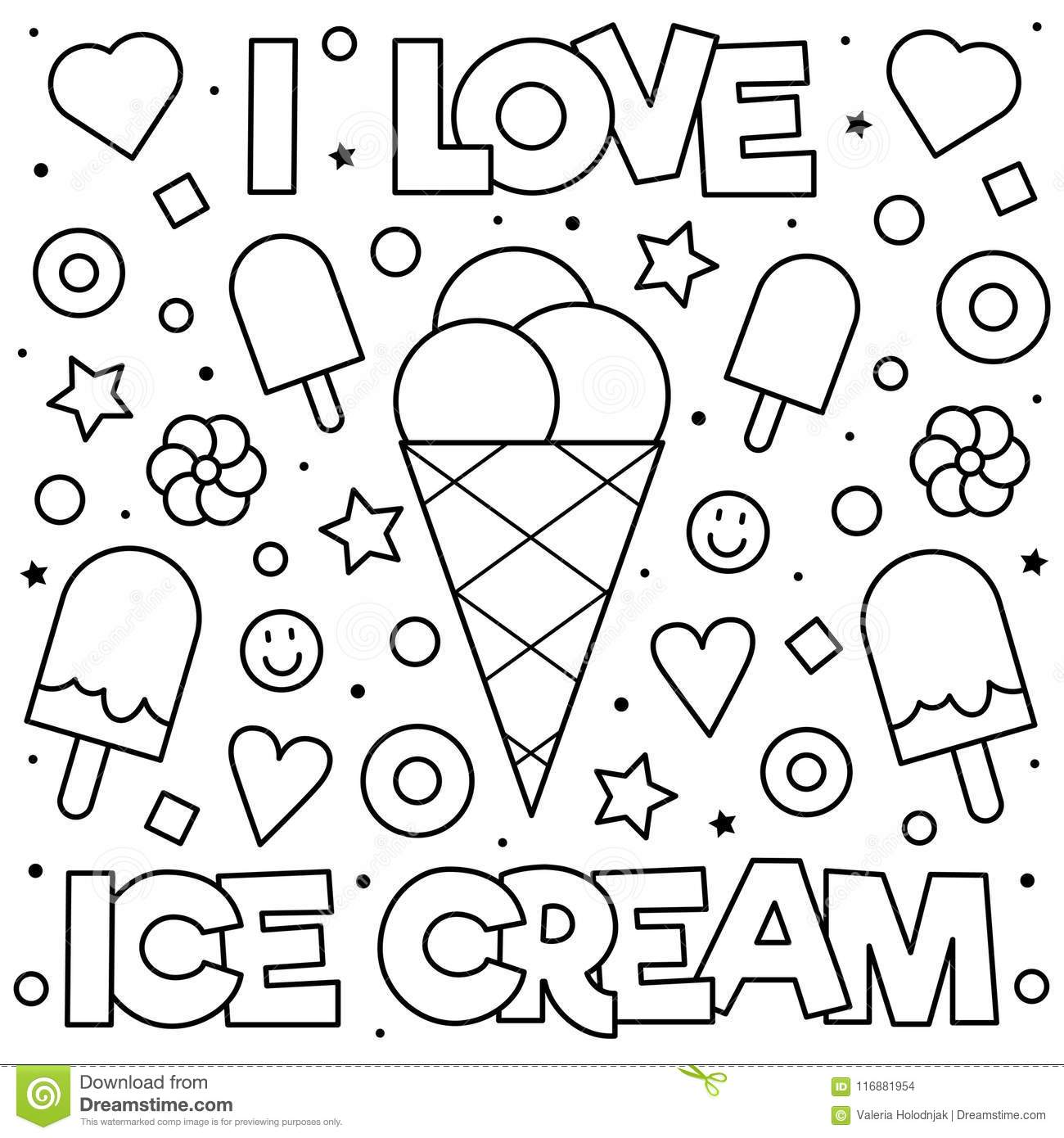 I love ice cream coloring page black and white vector illustration
