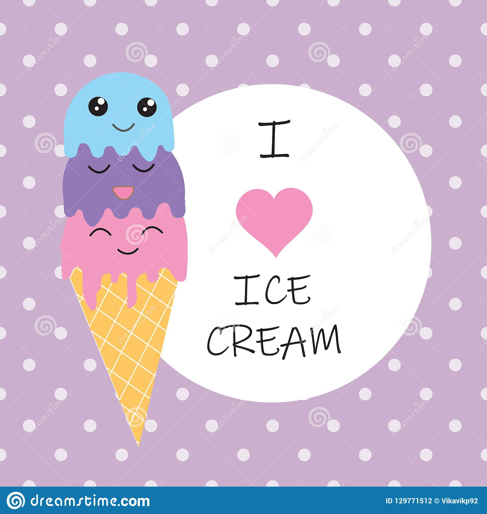 Seamless Ice Cream Background: I Love Ice Cream Poster On Seamless Violet Background