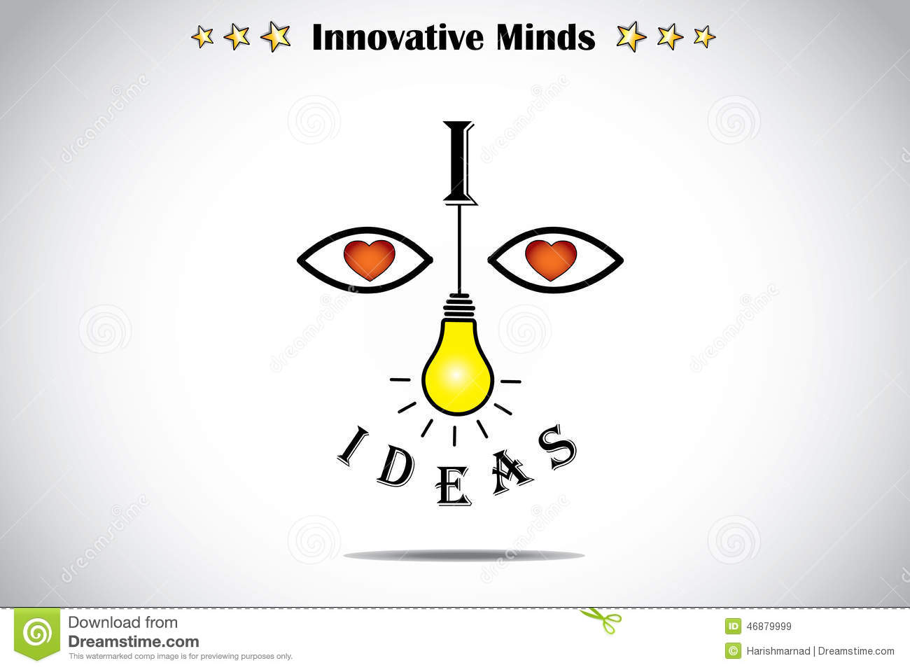 I Love Ideas Face With Bright Light Yellow Lightbulb Art Concept