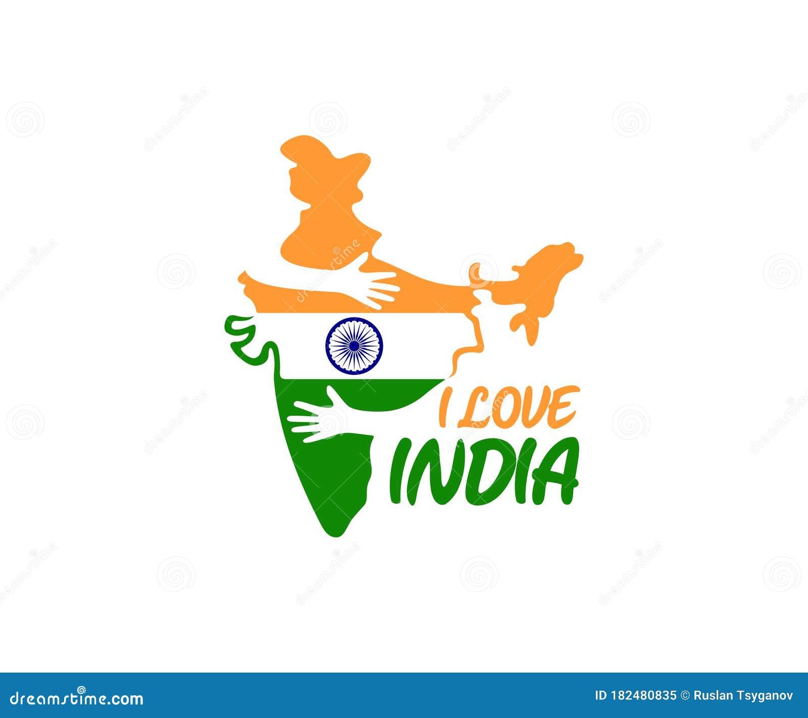 I Love India, Hands Hug Country India, Logo Design ...