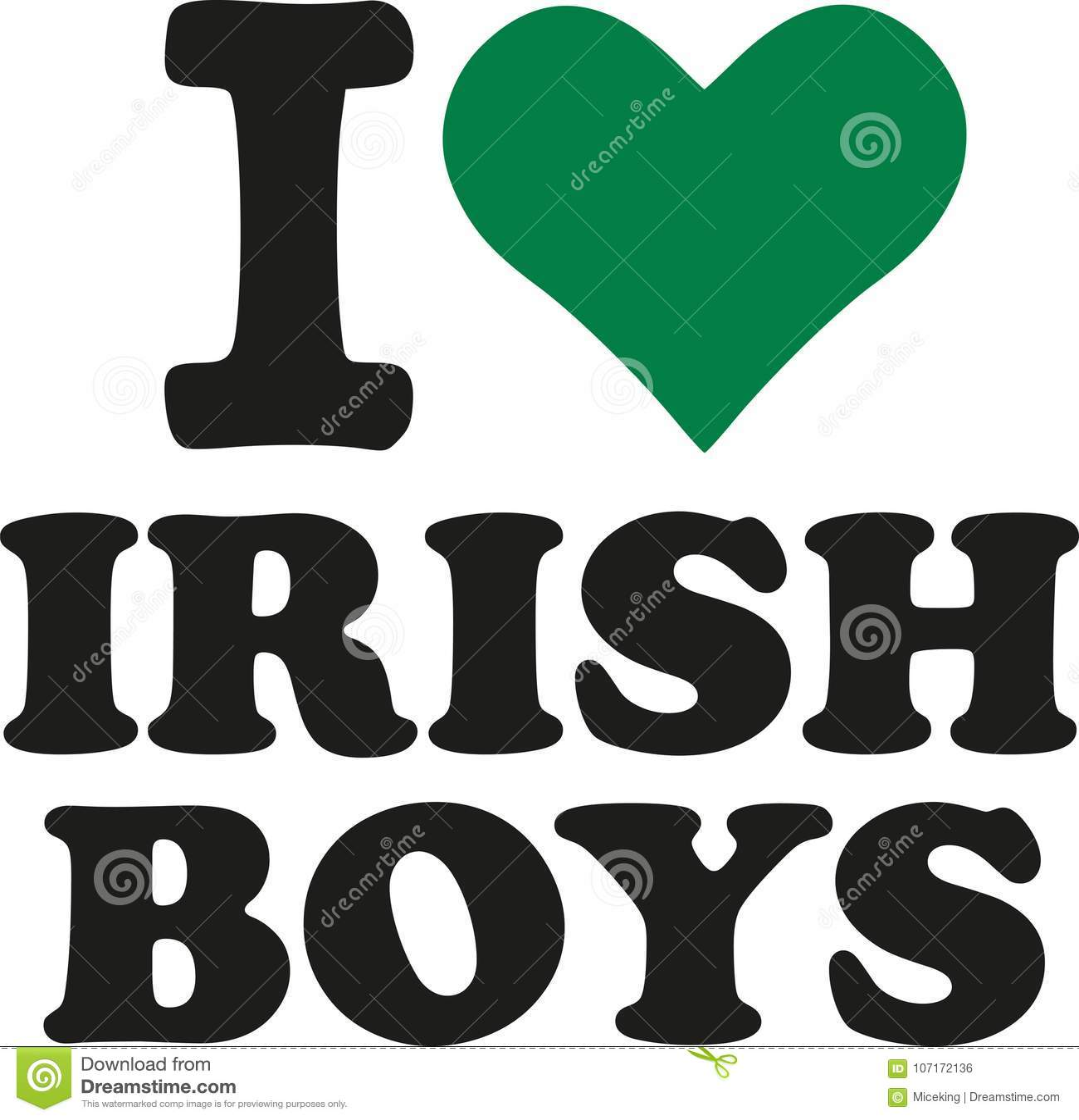 I Love Irish Boys With Green Heart Stock Vector Illustration Of