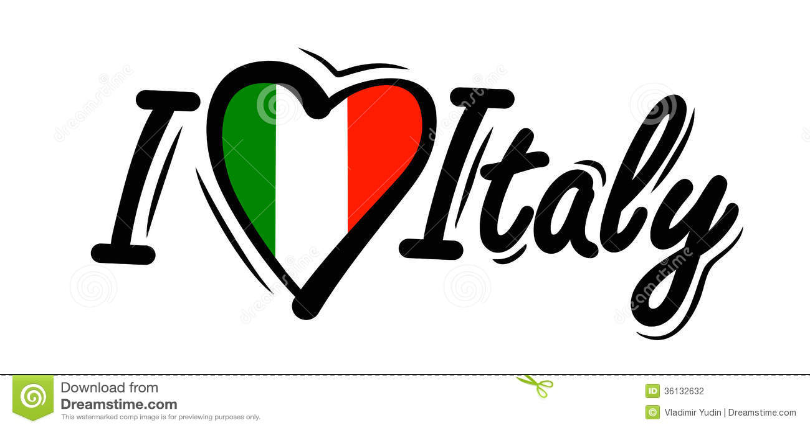 I Love Italy Vector Stock Vector Illustration Of National 36132632