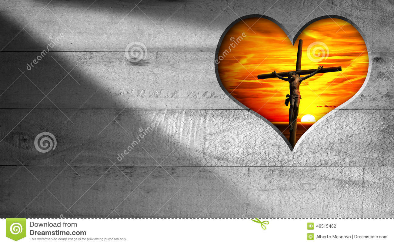 I Love Jesus Crucifixion At Sunset Stock Illustration