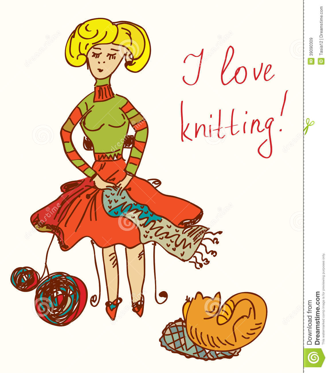 i love knitting card with funny woman cute stock vector