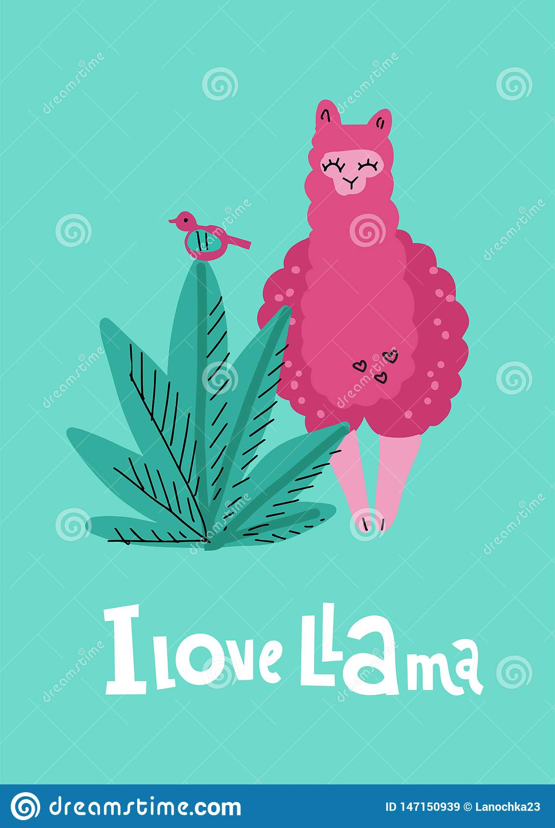 I love llama greening card with pink hand drawn alpaca with plant, bird and lettering qoute. Vector baby animal illustration for