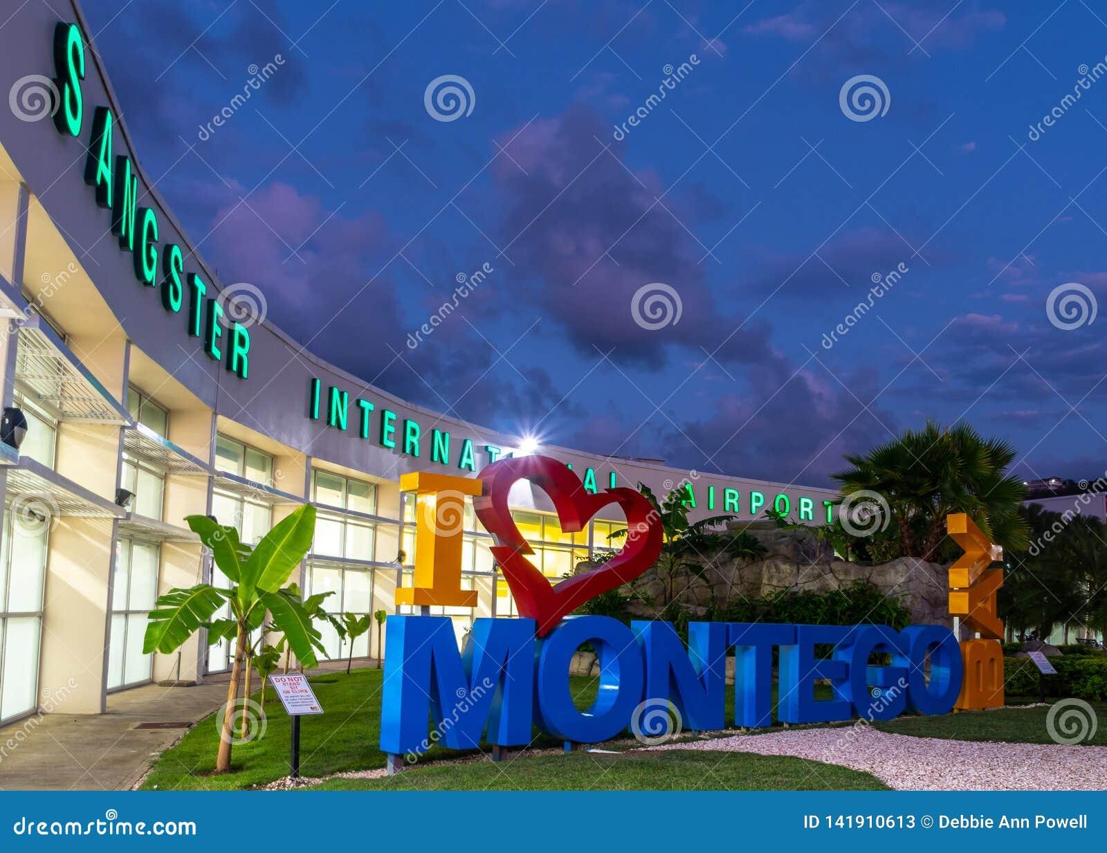 I love Montego Bay/ I heart Montego Bay sign at the Sangster International Airport