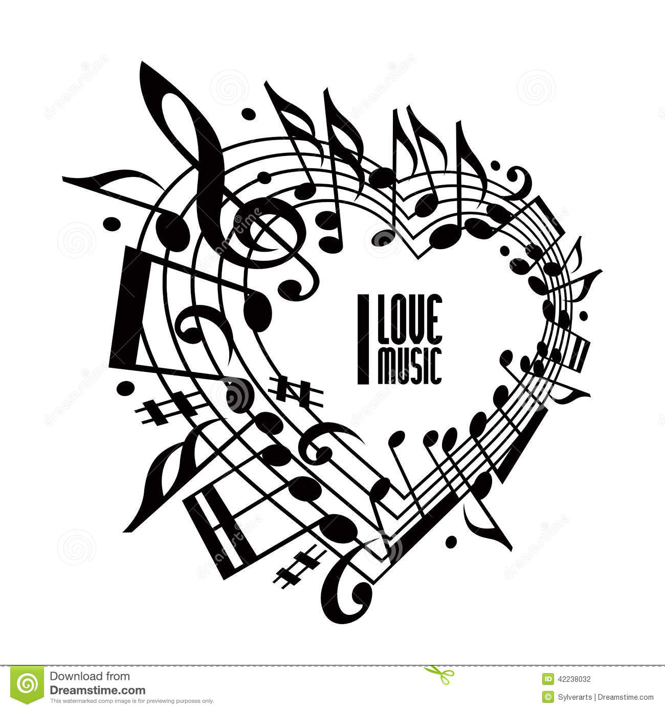 Stock Illustration I Love Music Concept Black White Design Heart Made Musical Notes Clef Contain Copy Space Image42238032 on vintage romance illustrations