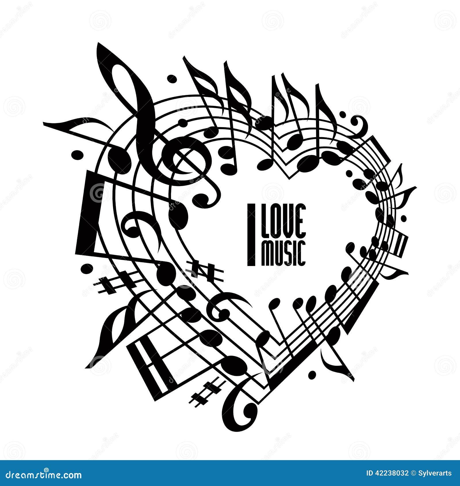 I Love Music Concept, Black And White Design. Stock Vector   Image