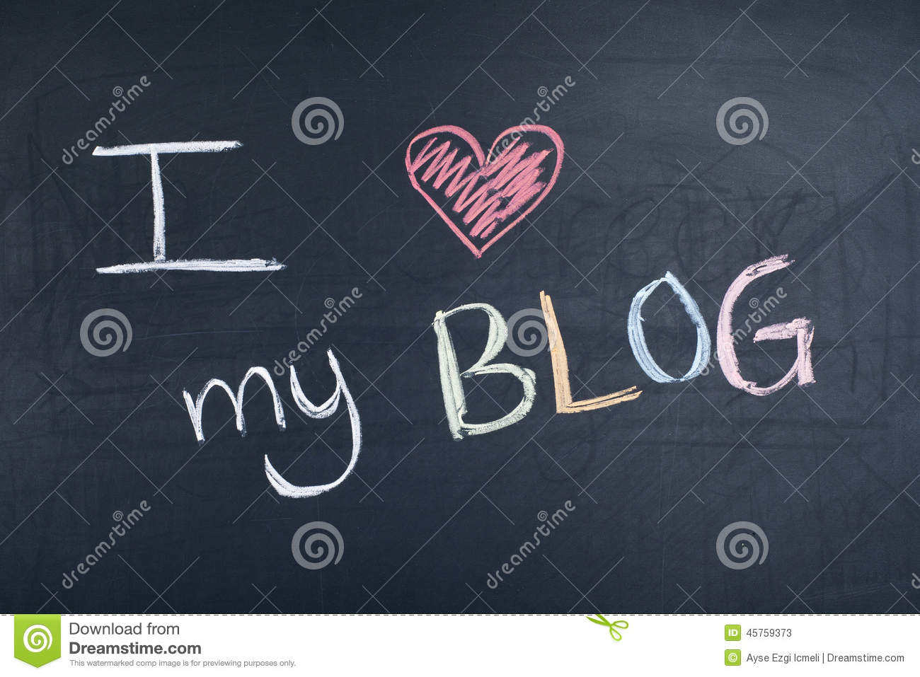 I Love My Blog stock image. Image of board, note, history