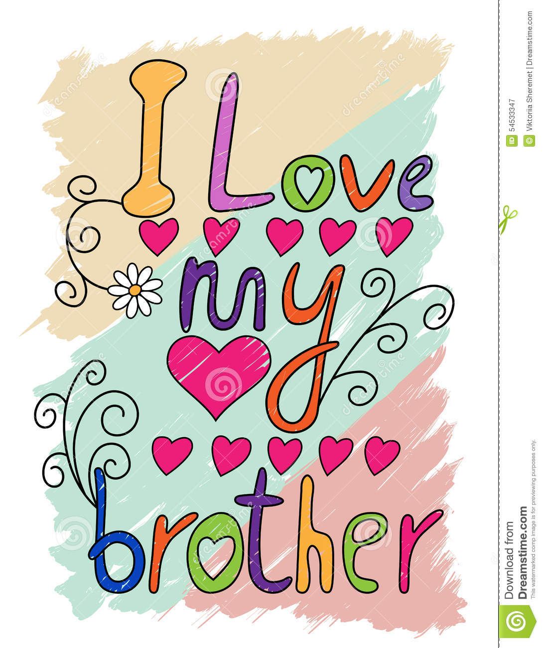I Love My Brother T Shirt Typography Vector Stock Vector