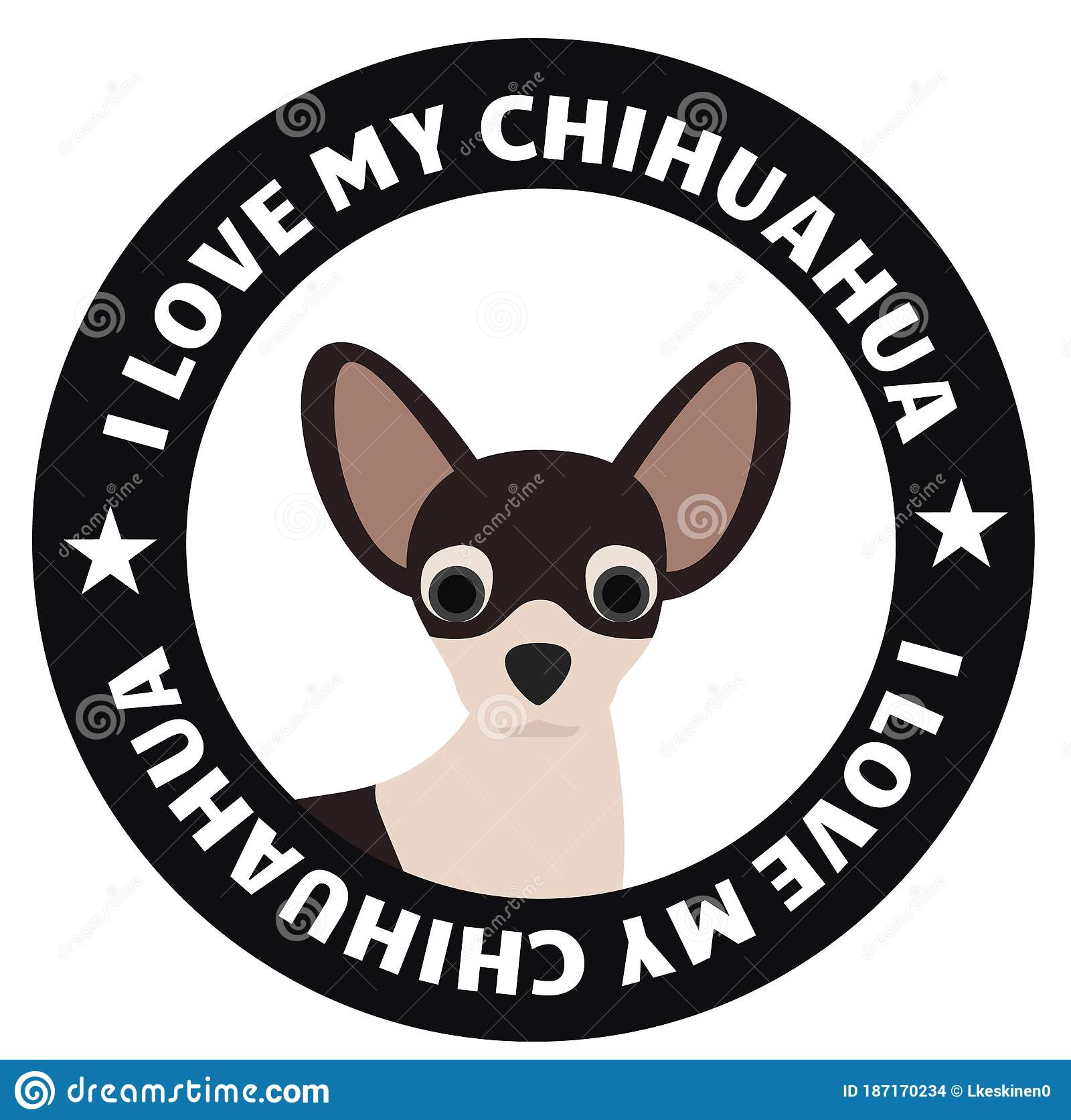 Download I love my chihuahua badge stock illustration. Illustration ...