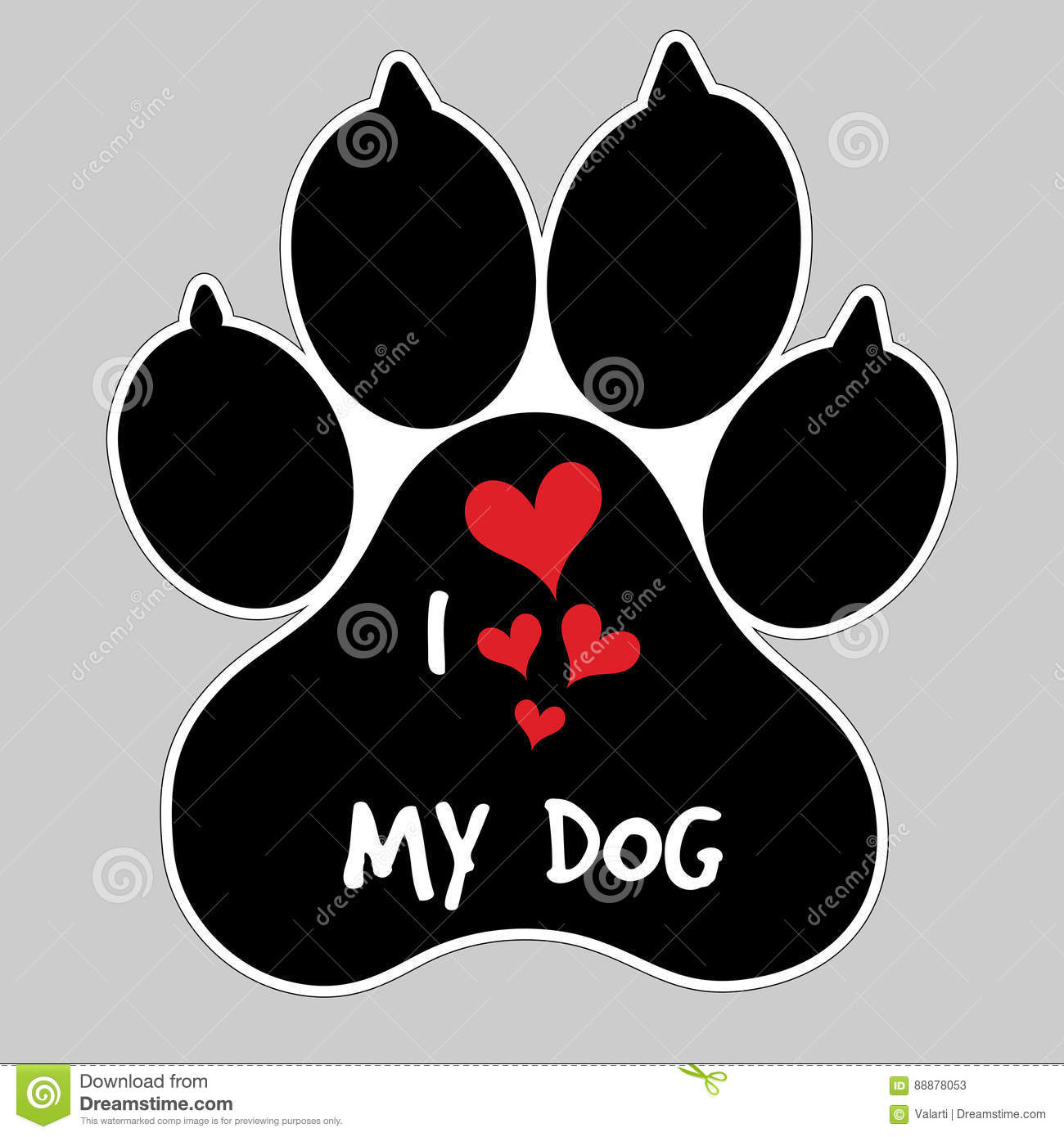 I Love My Dog Vector Animal Foot Paw Print Button Badge Stock Vector