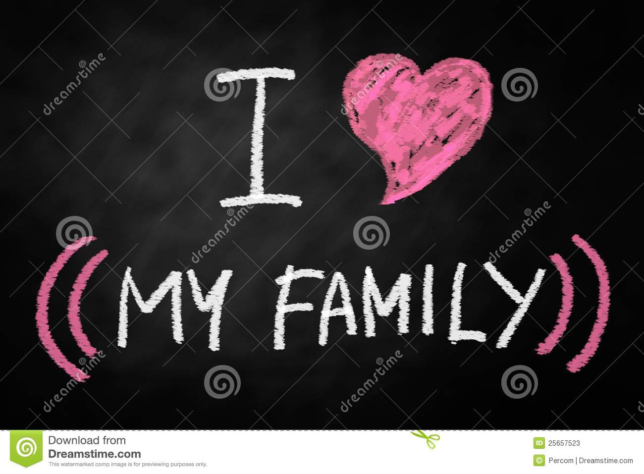Digitally generated I Love my family chalk text written on a ...