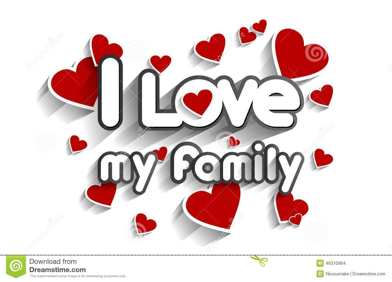 i love my family stock vector illustration of heart 46310964