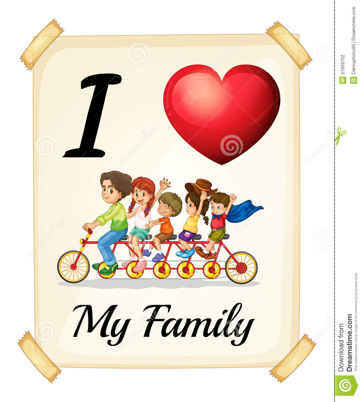 I Love My Family Stock Vector Illustration Of Banner 51959752