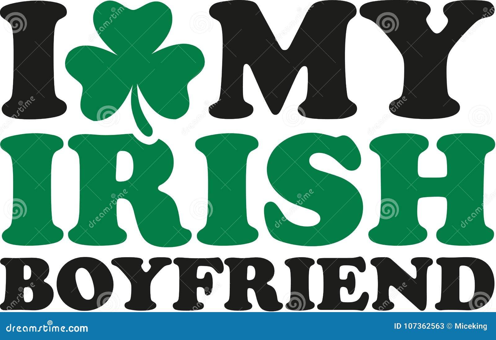 I Love My Irish Boyfriend With Clover Stock Illustration