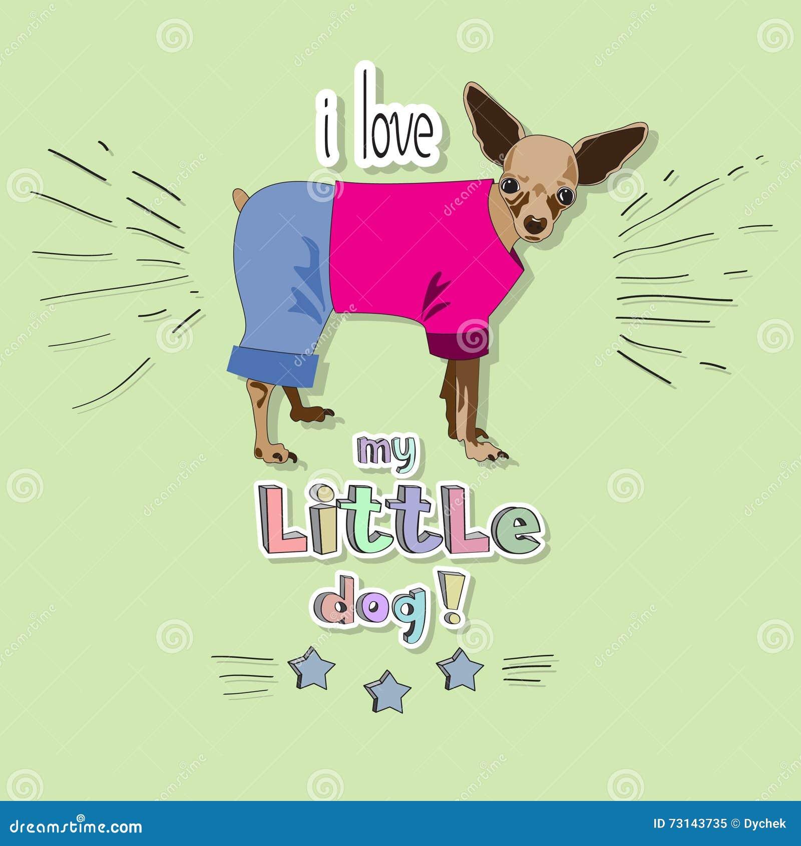 Download I Love My Little Dog Stock Vector Illustration Of Phrase