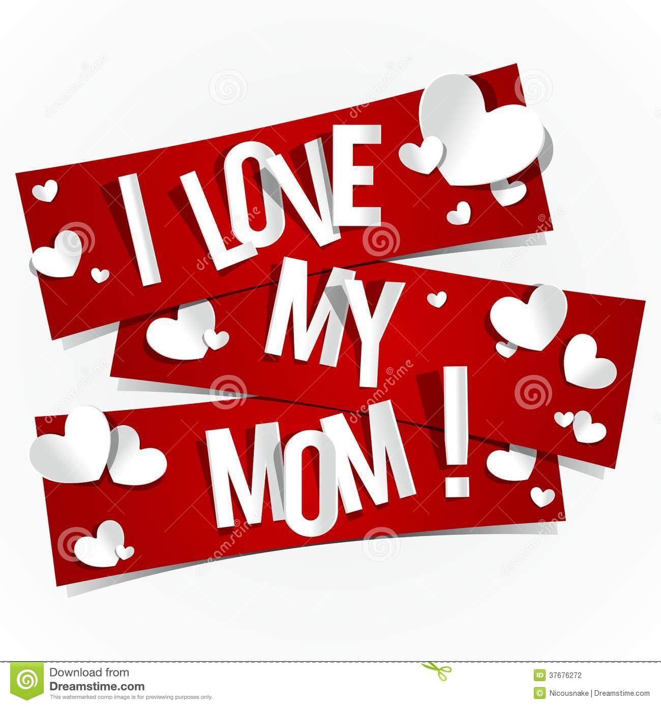 I Love My Mom Stock Vector Illustration Of Cards Happy 37676272
