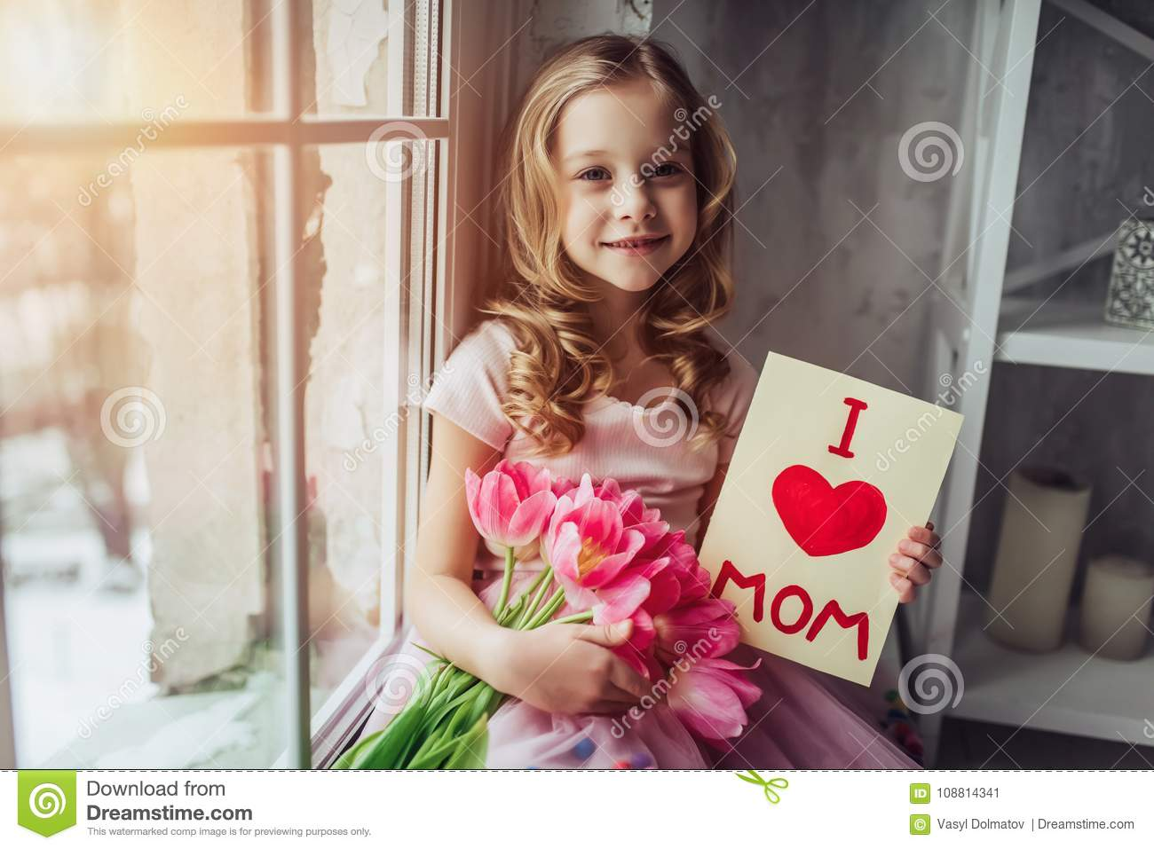 Cute Little Girl At Home Stock Image Image Of Cute 108814341