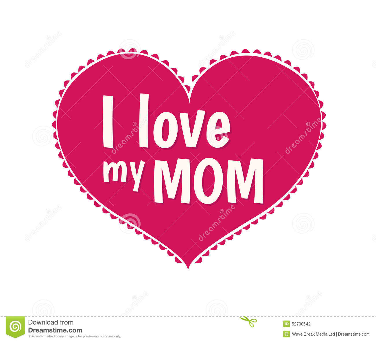 Mothers Day Card I Love My Mom Vector Stock Vector Image 52700642