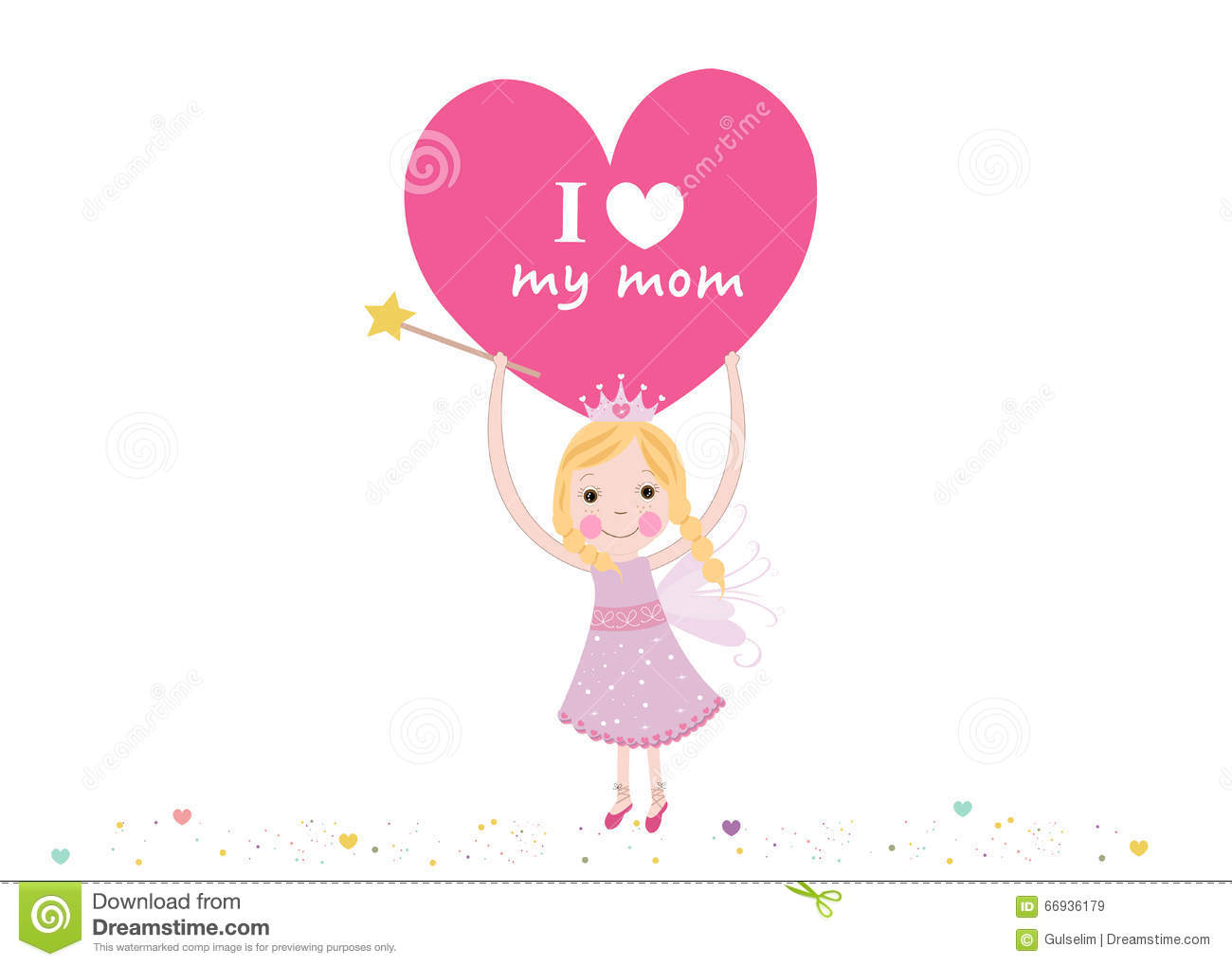 i love my mother writing fairy holding heart mother s day royalty vector i love my mother