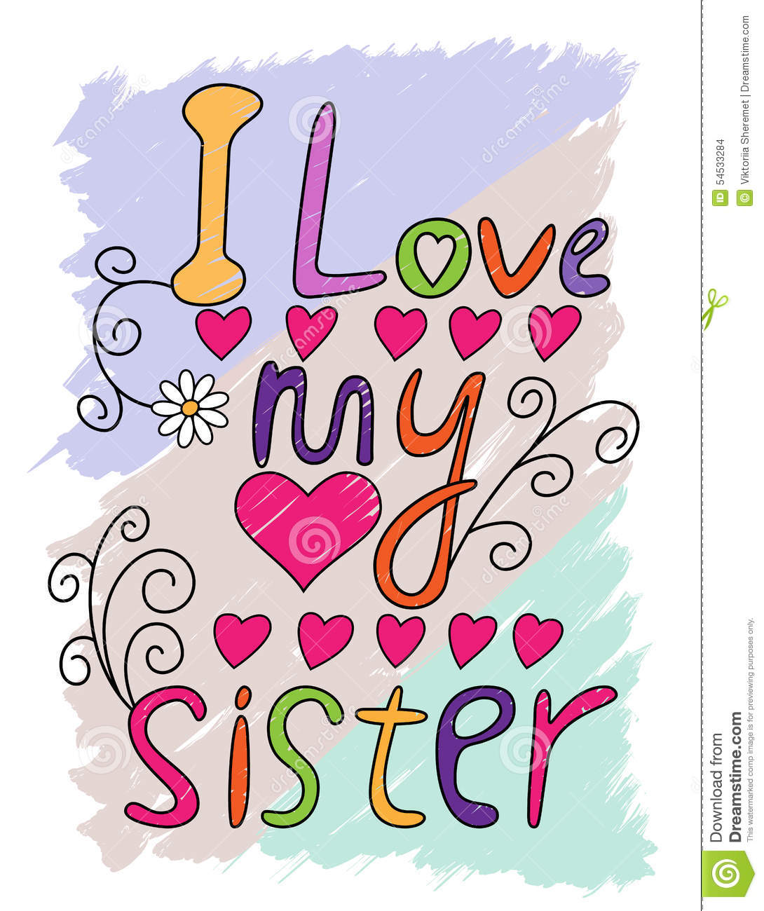 I Love My Sister T Shirt Typography Vector Stock Vector
