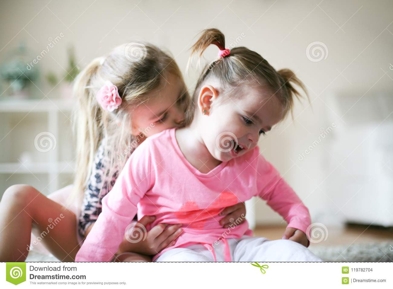 I Love My Sister Two Little Girls At Home Stock Photo Image Of