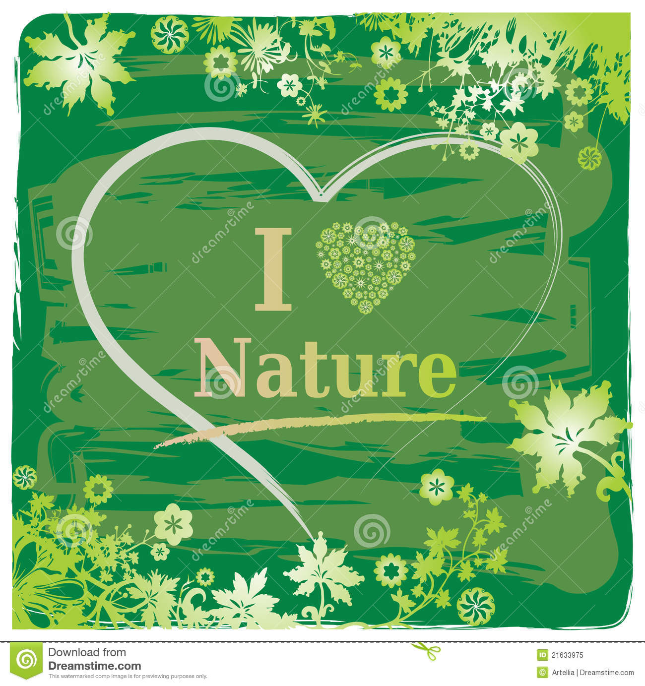 Love Nature Text + Heart And Flower Border Royalty Free Stock Photo ...