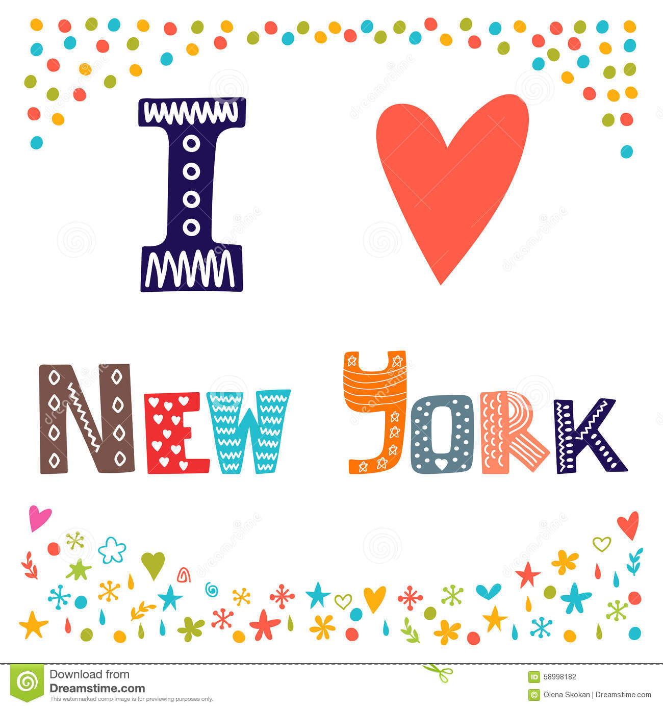 I Love New York. Cute Postcard. Greeting Card From New