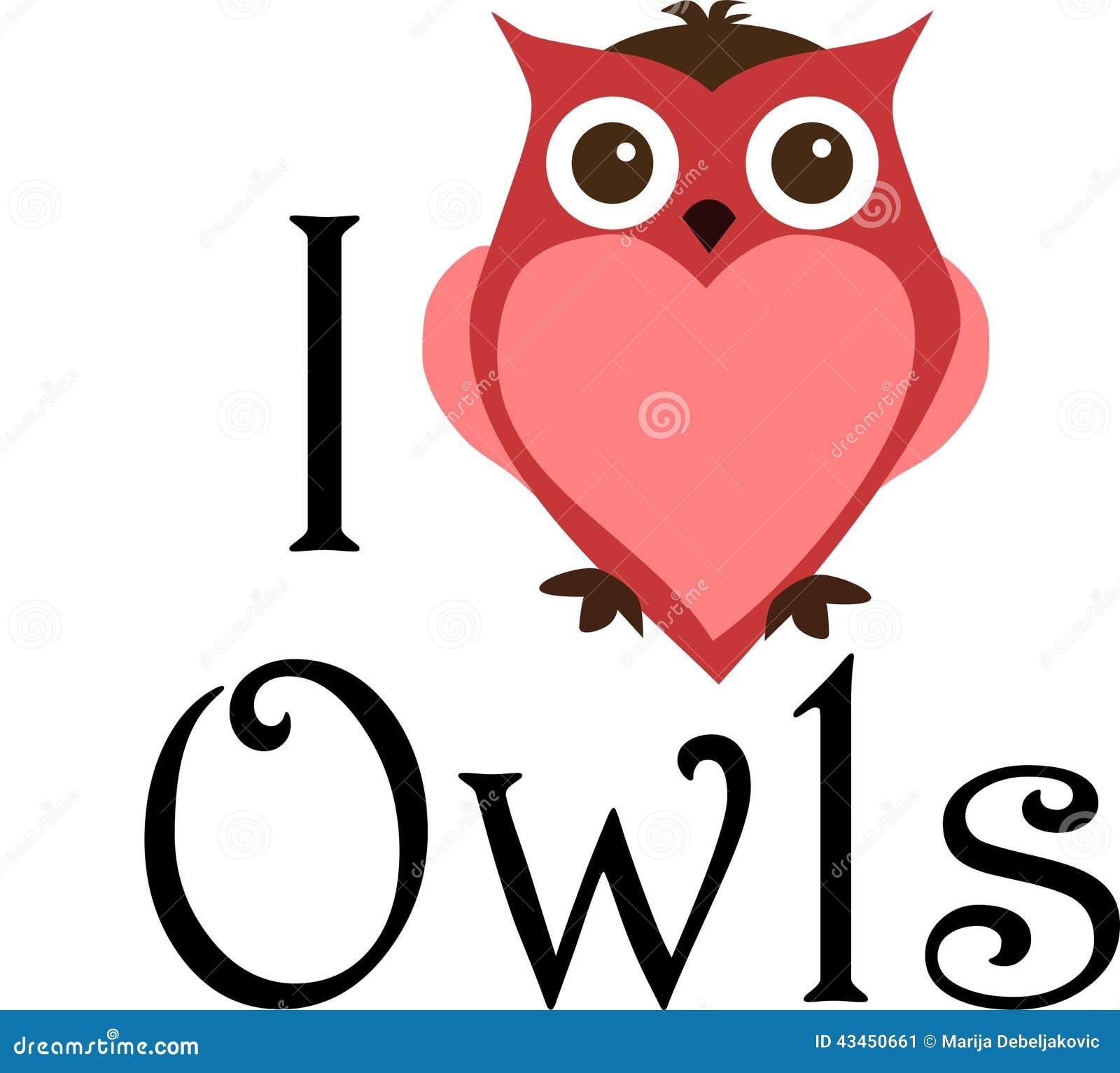 I Love Owls Sign Stock Illustration