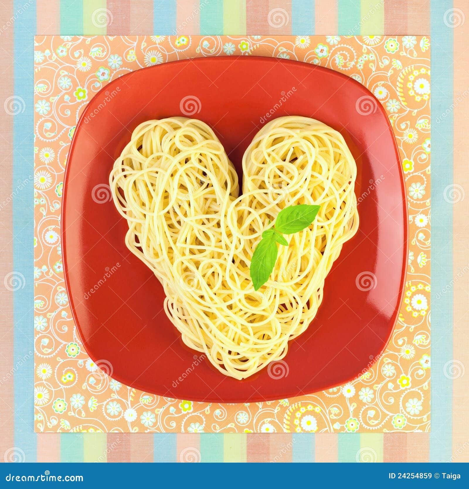 I Love Pasta Spaghetti Heart Shape Royalty Free Stock