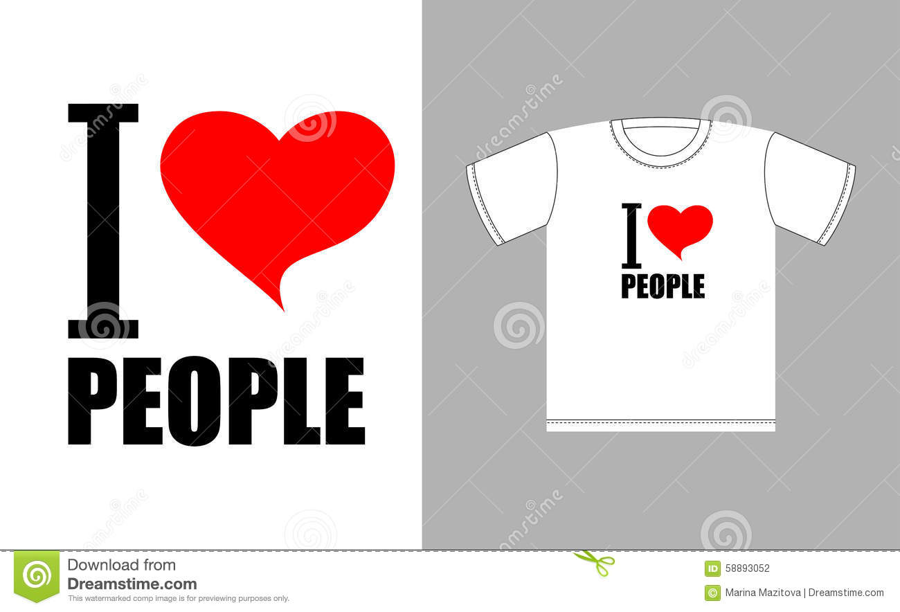 I Love People Love Heart Symbol Sign For T Shirts Good Man Stock