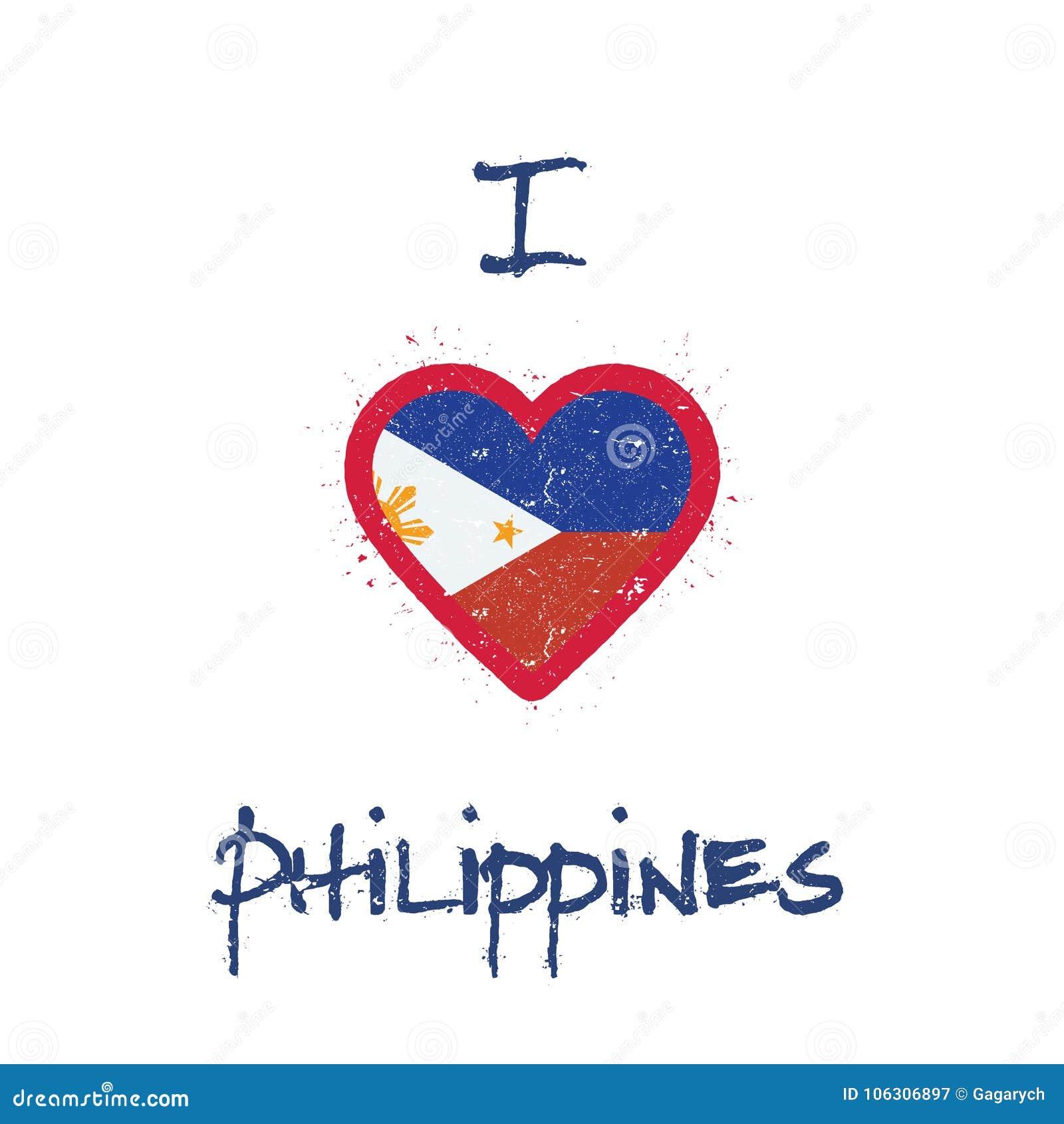 I Love Philippines T Shirt Design Stock Vector Illustration Of
