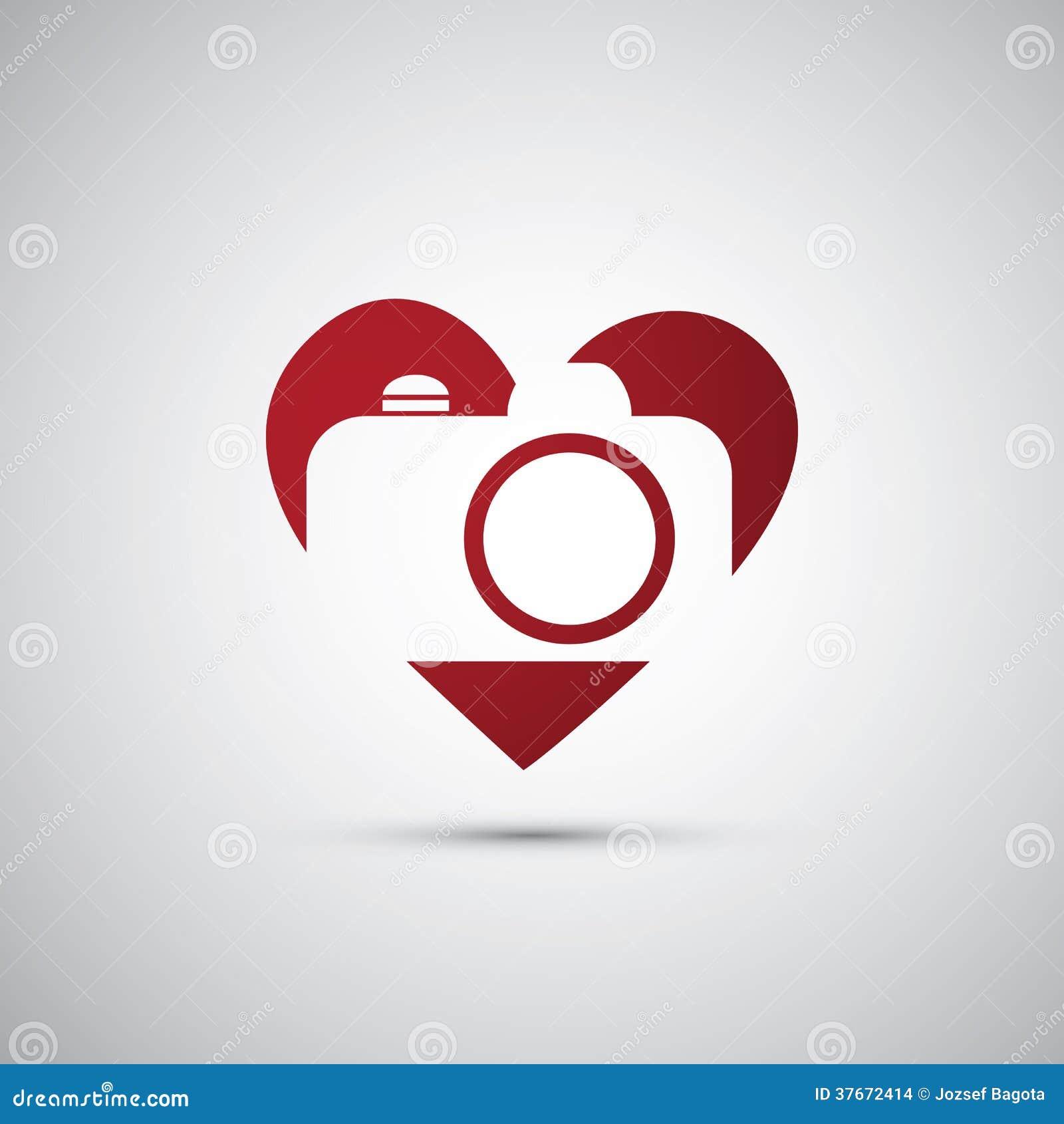 I Love Photography Camera Icon Design Stock Vector Illustration