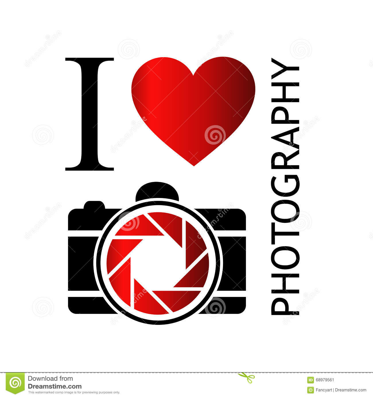 I Love Photography With Camera And Red Heart Stock Vector