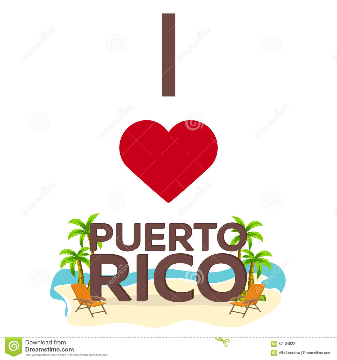 I Love Puerto Rico. Travel. Palm, Summer, Lounge Chair. Vector Flat ...