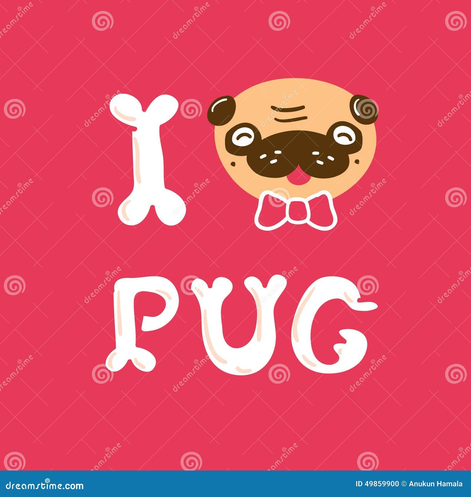Love Pug Vector Illust...
