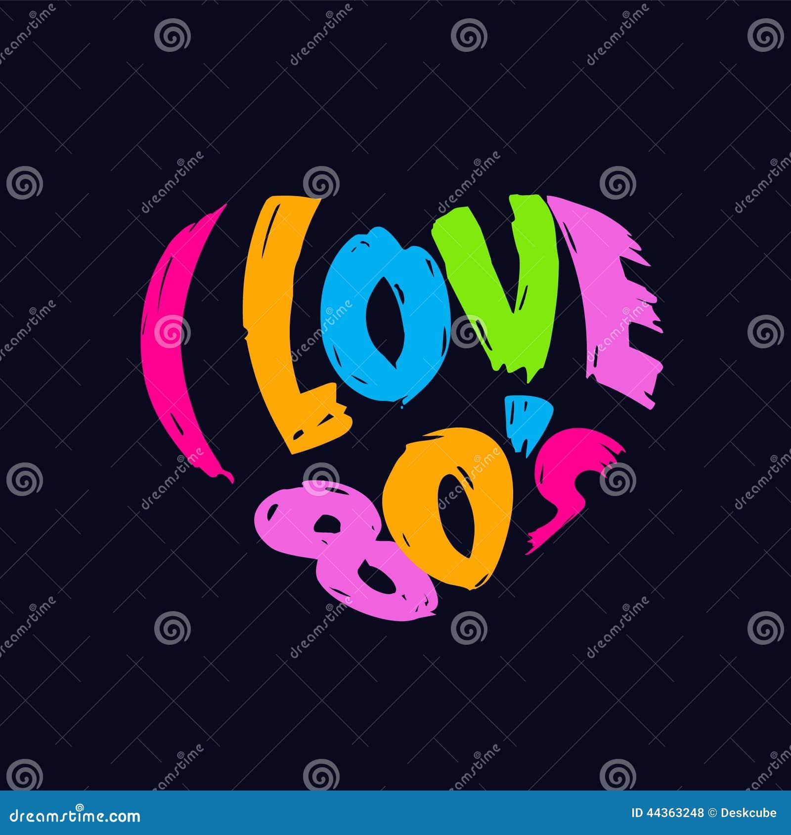 I Love 80s Heart Retro Logo Stock Vector - Image: 44363248