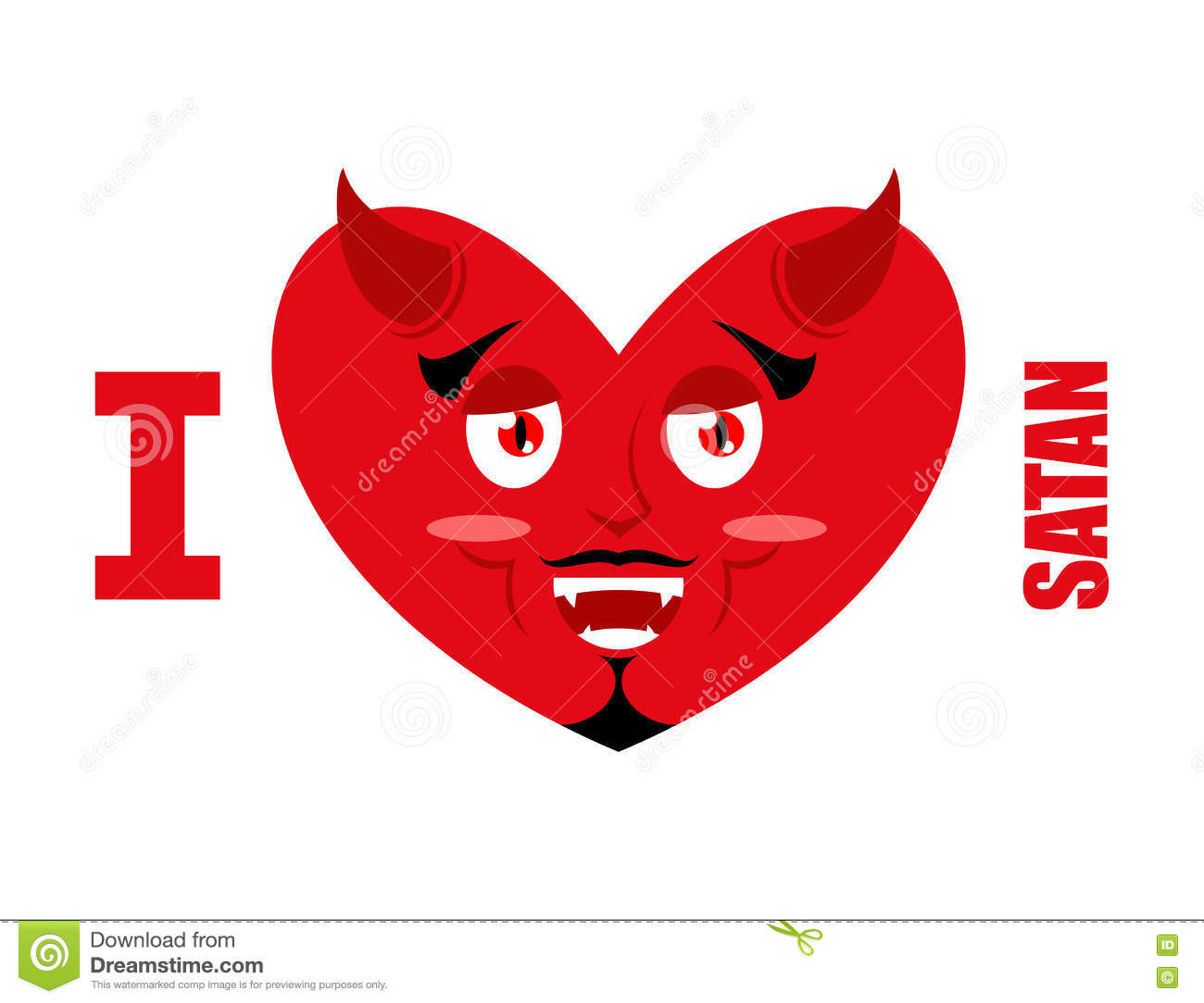 I Love Satan Symbol Of Heart And Devil With Horns Red Demon P