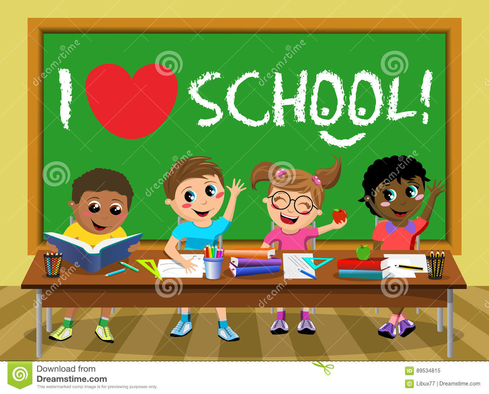 I Love School Blackboard Happy Kids Children Classroom ...