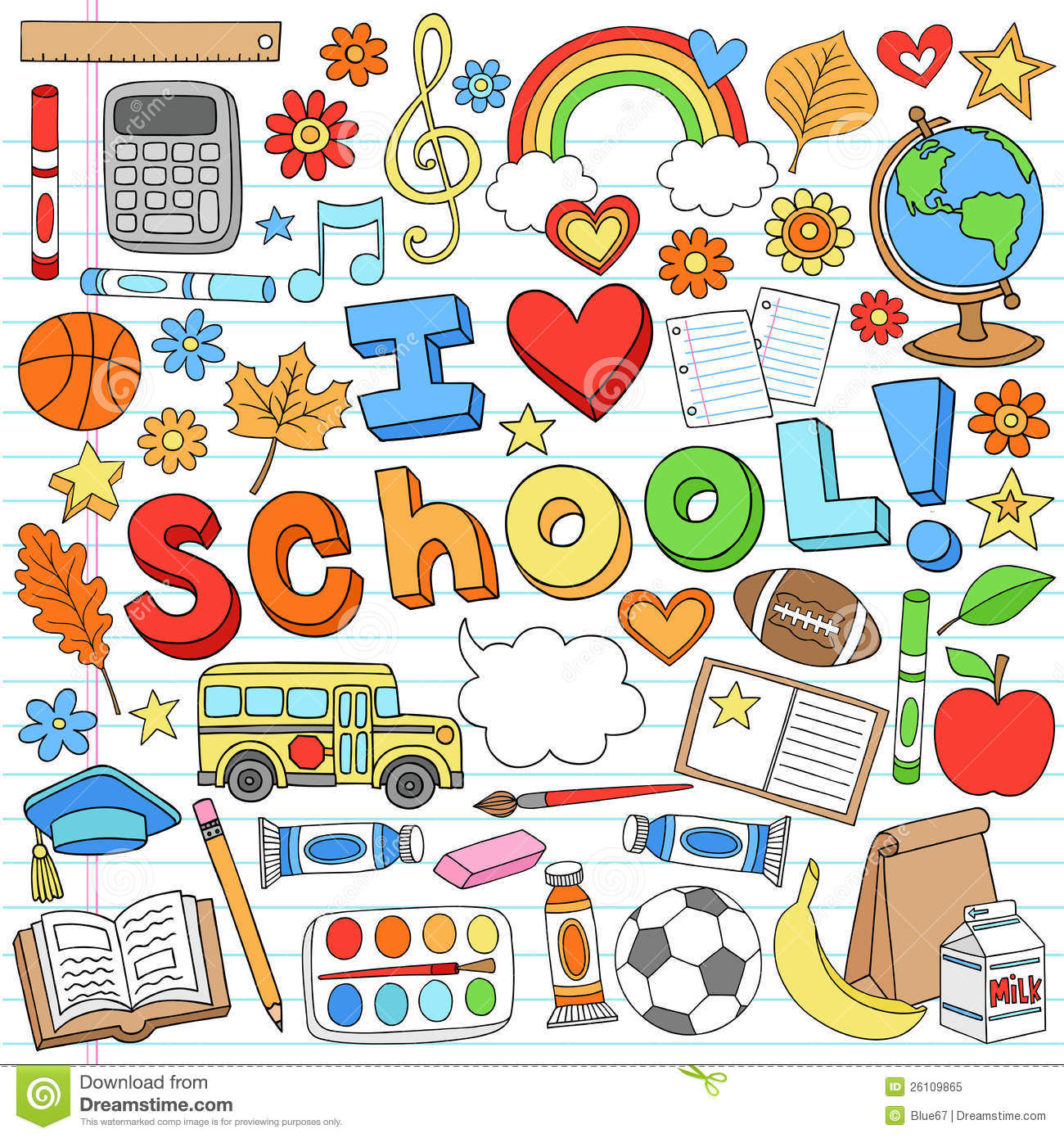 Classroom Design Elements ~ I love school supplies vector design elements stock