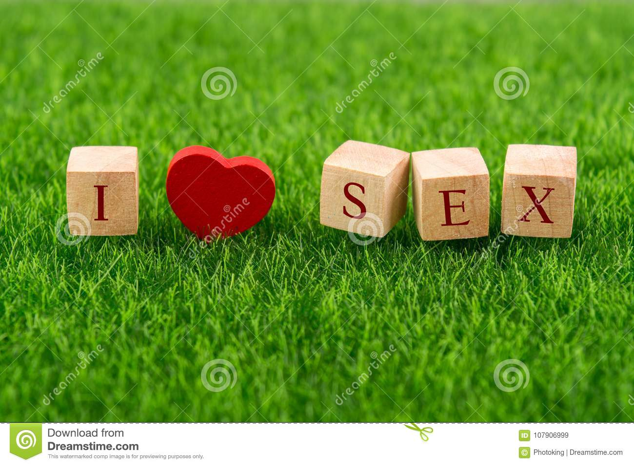 I love sex in wooden cube